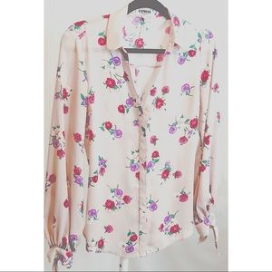 Express pale pink floral portofino slim fit shirt